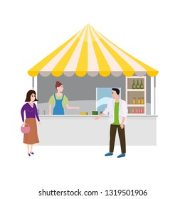 Street food drinks market talls canopy and beverages. Seller and Buyers. Vector, Illustration, Isolated, Banner, Template Cartoon flat