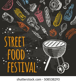 Street food festival card. Hand drawn vector illustration on the watercolor splashes. Can be used for menu, poster, banner, emblem, sticker, placard and other design.