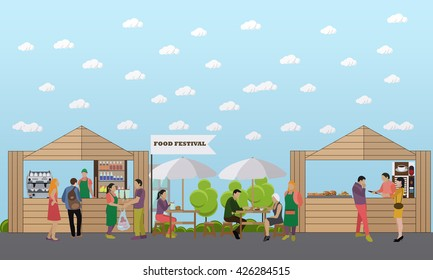 Street food festival concept vector banner. People sell food from stalls on a street.
