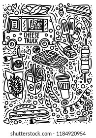 Street food festival doodle style hand drawn concept with truck, ice-cream, franch fries, barbecue, coffee to go etc. Stock vector