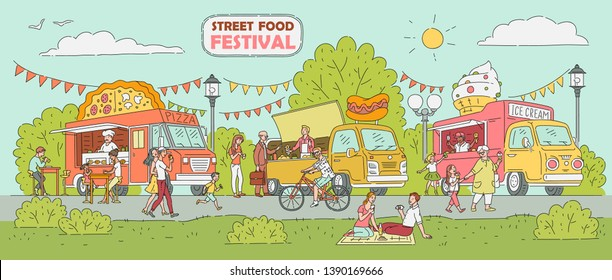 Street food festival event - ice cream truck, pizza vendor shop, hot dog stand with crowd of people enjoying sunny day outdoors in summer park market, hand drawn vintage poster vector illustration
