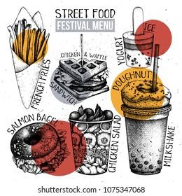 Street food festival menu. Vintage sketch collection. Fast food set. Engraved style template. Vector packaging design.