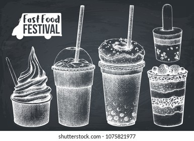 Street food festival menu. Vintage sketch collection. Fast food set. Vector desserts drawing, milkshake, cocktail, ice cream, fruits salad ans yogurt ice. Chalkboard design.