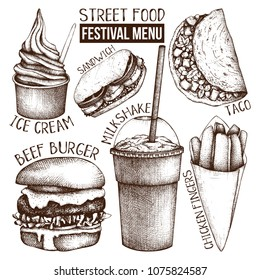 Street food festival menu. Vintage sketch collection. Fast food set. Vector ice cream, burger, milkshake, chicken fingers, sandwich, tacos drawings. Engraving style illustrations.