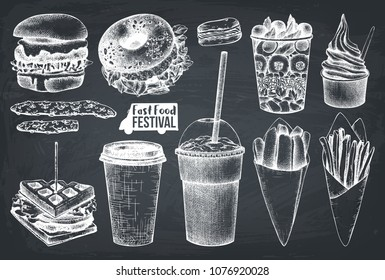 Street food festival menu. Vintage sketch collection. Fast food set. Engraved style design. Vector burger, sandwich, milkshake, salad, ice cream, fries drawing on chalkboard