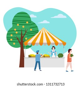 Street food fruits market talls canopy. Seller and Buyers. Vector, Illustration, Isolated, Banner, Template Cartoon flat
