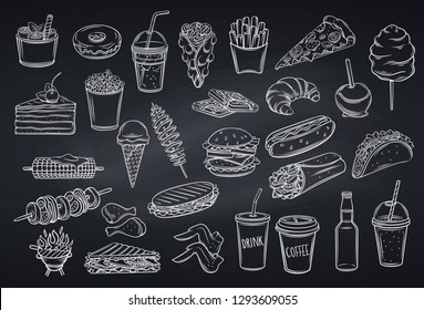 Street food icons , chalkboard style. Takeaway meals bubble waffles, hong kong, spiral potato chips, lemonade and apples in caramel. Retro vector illustration fast food french fries, hamburger