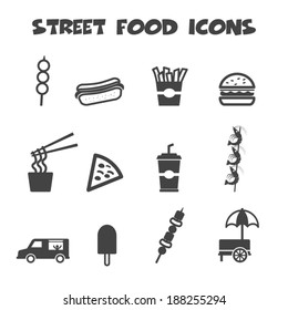 street food icons, mono vector symbols