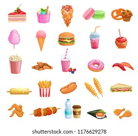Street food icons set. Takeaway meals bubble waffles, hong kong, spiral potato chips, lemonade and apples in caramel. Vector illustration fast food french fries, hamburger,japanese sushi and barbecue