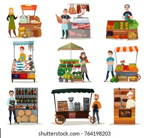 Street food icons set with vegetables meat and wine flat isolated vector illustration