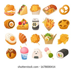 Street food images. German, British, Korean and Japanese cuisines. Vector icons.