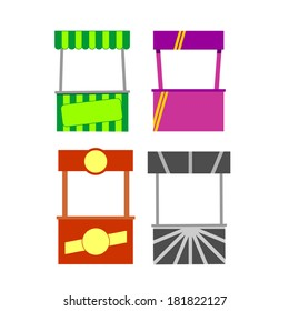 Street food kiosk. Food cart stall mockups, kiosk icon set.