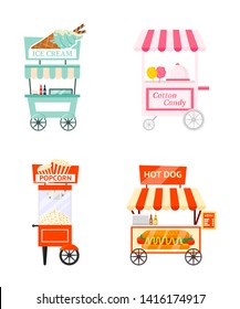 Street food kiosk flat vector illustration set. Quick meal trolleys pack. Small business, takeaway service, snacks sale. Ice cream cart, cotton candy booth, popcorn machine and hot dog stand