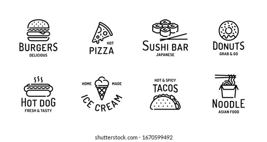 Street food logo set. Modern flat restaurant or cafe logotype. Vector design concept for burgers, pizza, sushi bar, donuts, hot dog, ice cream, tacos, noodle. Line fastfood sign illustration