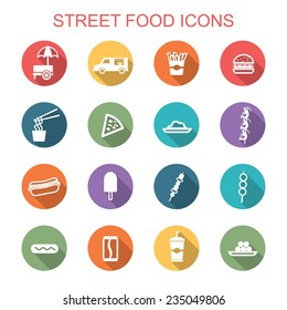 street food long shadow icons, flat vector symbols