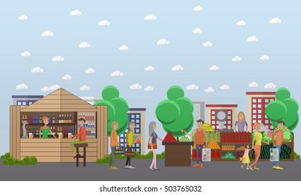 Street food market. Vector banner in flat style design.