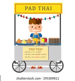 Street food, Pad Thai vendor in Bangkok, Thailand, illustration, vector