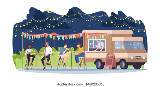 Street food restaurant flat vector illustration. Ready takeaway meal cafe. Summer outdoor rest in city park. Foodtruck, seller, people at tables isolated cartoon characters on white background