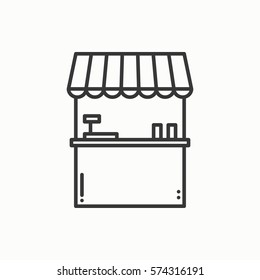 Street food retail thin line icons set. Food kiosk, market stall, mobile cafe, shop, trade cart. Vector linear icons. Isolated illustration.