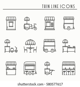 Street food retail thin line icons set. Food truck, kiosk, trolley, wheel market stall, mobile cafe, shop, tent, trade cart. Vector style linear icons. Isolated flat illustration. Symbols. Black white
