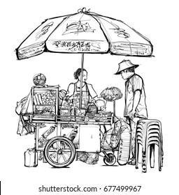 Street food seller in Bangkok (street, food, thailand) - vector illustration