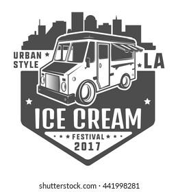 Street food truck ice cream t shirt logo