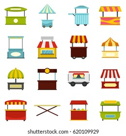 Street food truck icons set in flat style isolated vector illustration