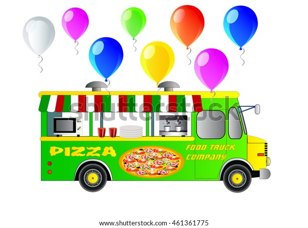 Street food truck. Pizza van vector illustration. Isolated on white. Icon. Flat style. With vector balloons.