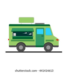 Street food truck vector illustration, food caravan. Green food van delivery. Flat icon