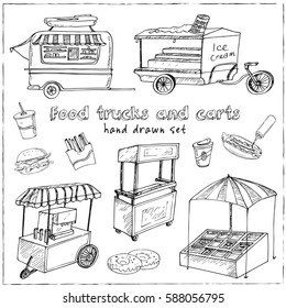 Street food trucks and carts selling hot dogs and wok dishes doodle set isolated vector illustration