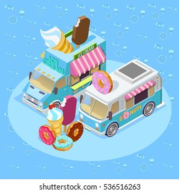 Street food trucks isometric composition poster with ice cream van and donuts bus blue background vector illustration