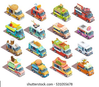 Street food trucks models isometric icons collection with coffee pizza bbq and fresh fruits sellers isolated vector illustration