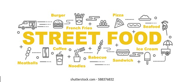 street food vector banner design concept, flat style with thin line art icons on white background
