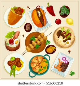 Street food vector flat style detailed set. Colored icons. Vegetarian modern food illustrations.Falafel, grill, hamburger and other dishes.