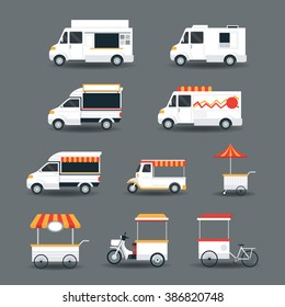 Street Food Vehicles, Truck, Van, Pushcart, White Body Set