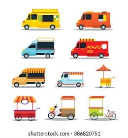 Street Food Vehicles, Truck, Van, Pushcart, Color Set