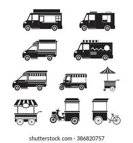 Street Food Vehicles, Truck, Van, Pushcart, Mono Set