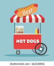 Street food vending cart with hot dogs vector illustration. Urban kiosk for take-out food. Cartoon flat style