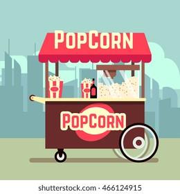 Street food vending cart with popcorn machine vector illustration
