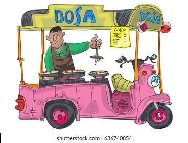 A street food vendor offers traditional dish dosa. Cartoon
