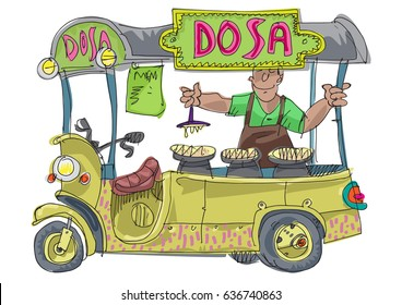 A street food vendor offers traditional dish dosa. Cartoon