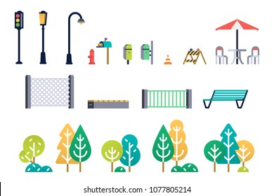 Street furniture and trees set. Vector illustration.