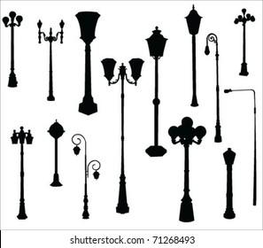 street and garden lamps vector