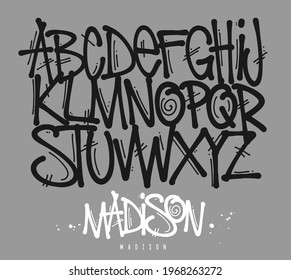 Street Graffiti Tag Font, handwritten Typography vector illustration.
