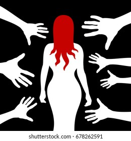 Street harassment - beautiful woman / prostitute is walking alone in the dark during night. Hands of strangers assaults and attack her body. Offensive action against lonely female