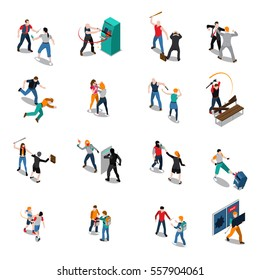 Street hooligans isometric icons with attack on women fight of men destruction and stealing isolated vector illustration