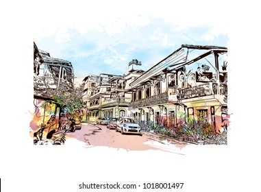 Street and houses in Goa, India. Watercolor splash with hand drawn sketch illustration in vector.