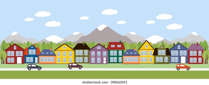 Street and houses. Town scene with row of houses along the street and cars. Cute houses on the background of mountains. Vector illustration of urban landscape in flat style.