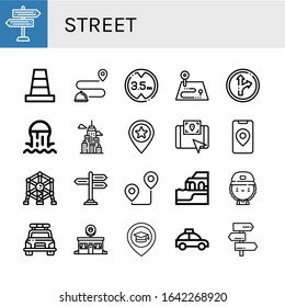 street icon set. Collection of Signpost, Cone, Tracking, Height limit, Route, Traffic sign, Sewer, City, Place, Gps, Atomium, Algarve, Skater, Police car, Donut shop, Taxi icons