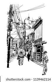 Street in Japan - vector illustration